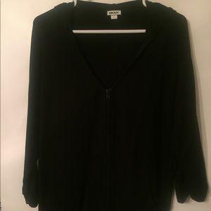 DKNY Women's Black Yoga Zip Hoodie, Size L